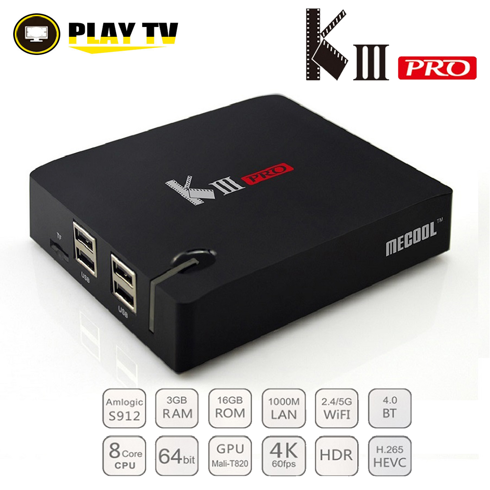 MECOOL KIII PRO DVB-S2 DVB-T2 DVB-C Android 7.1 TV Box Amlogic S912 Octa Core 64bit 4 k Combo K3 Pro médias lecteur DVB S2 DVB T2