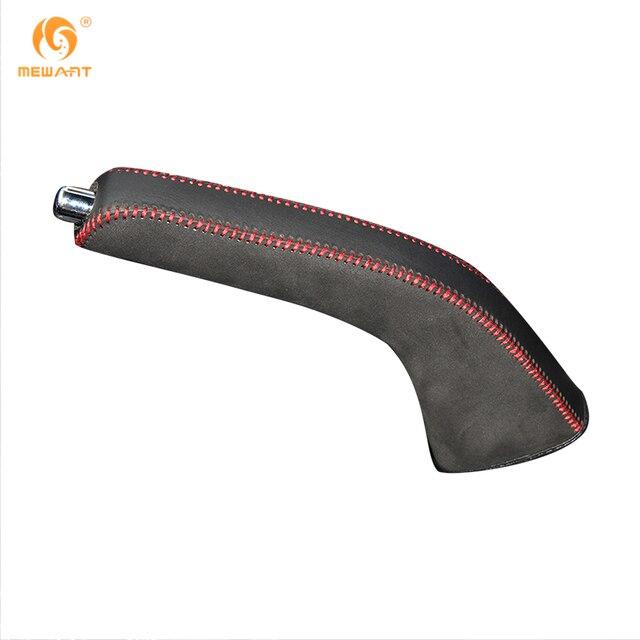 Mewant Black Genuine Leather Suede Car Handbrake Covers For Mitsubishi Lancer Ex