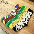Personalized fashion design pattern women socks Cartoon Retro Pure Cotton Sock ladies warm socks 5 pairs/lot