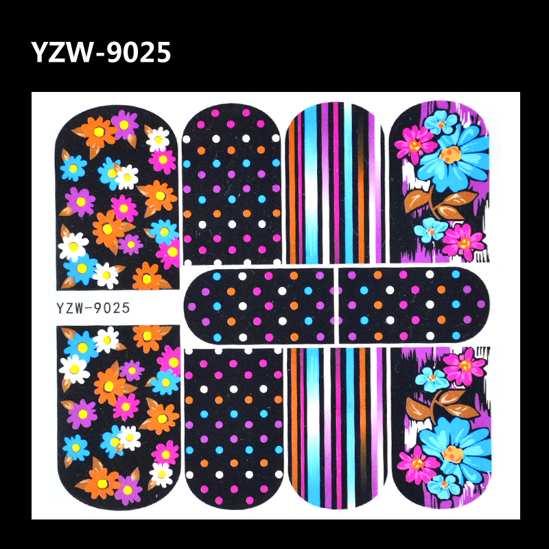 YZWLE 1 Sheet Nail Sticker Colorful Flower Nail Tattoo Decals Full Wraps Water Transfers Stickers For Nails Art Decorations Tool vinyl wraps decals camo nature realtree hunting game sticker for truck jeep size 1 50 30m roll