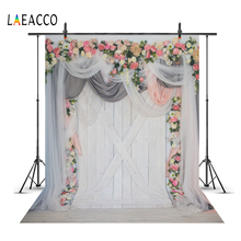 Wedding Backgrounds Flower Wreath Curtain Gray Wooden Board Wall Stage Party Baby Portrait Photography Backdrop For Photo Studio
