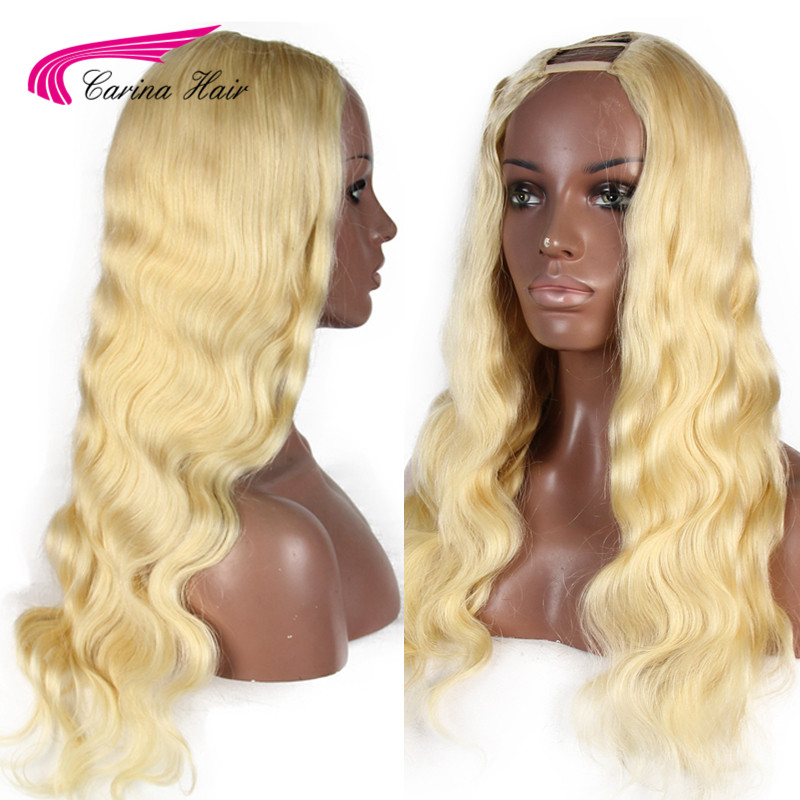 Wig Human-Hair Blonde Body-Wave Middle-Part Carina Remy 2--4-Open