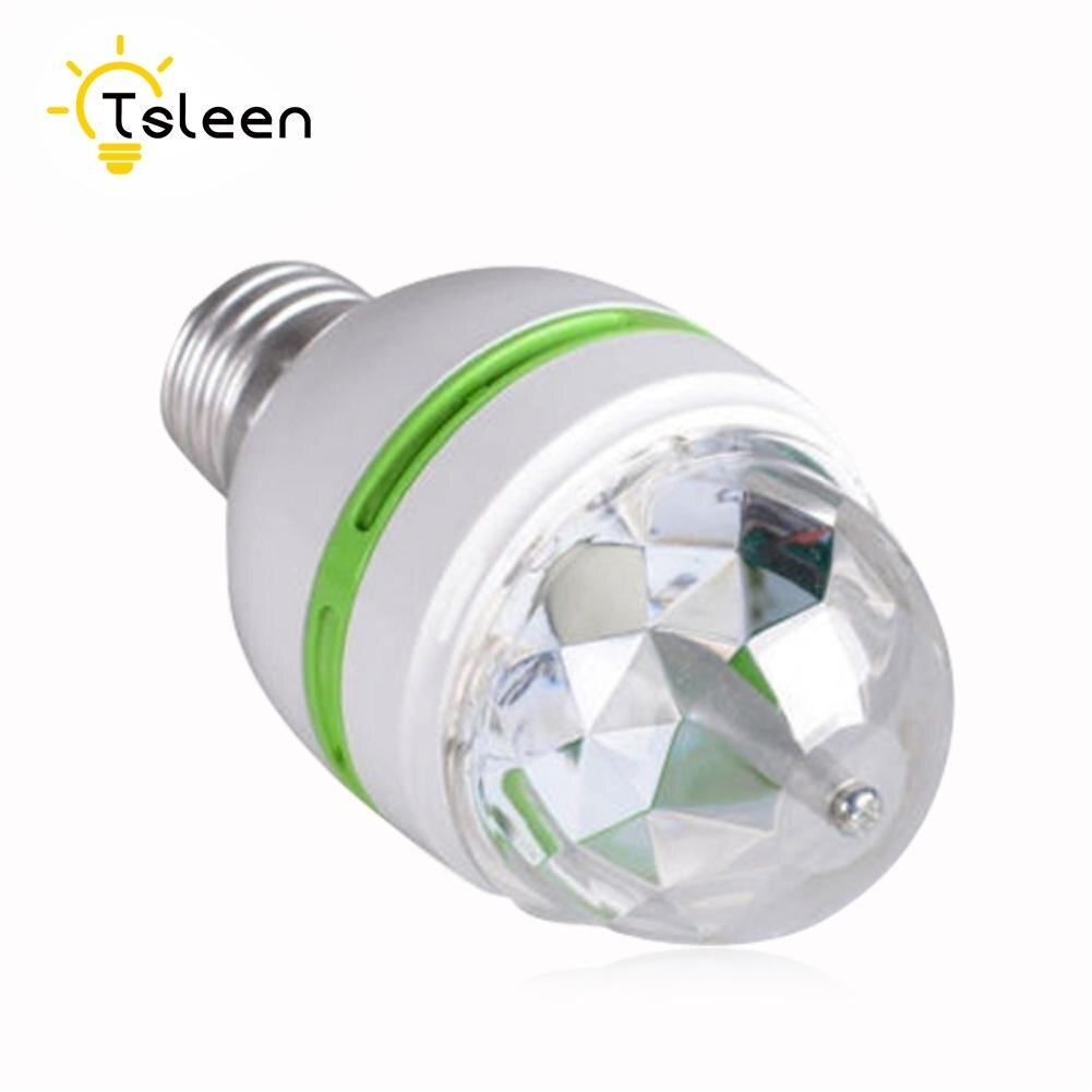 TSLEEN Full New E27 3W Colorful Auto Rotating Lampada 85-260V Bulb Stage Light Party Lamp Disco MIni RGB LED Nightlight