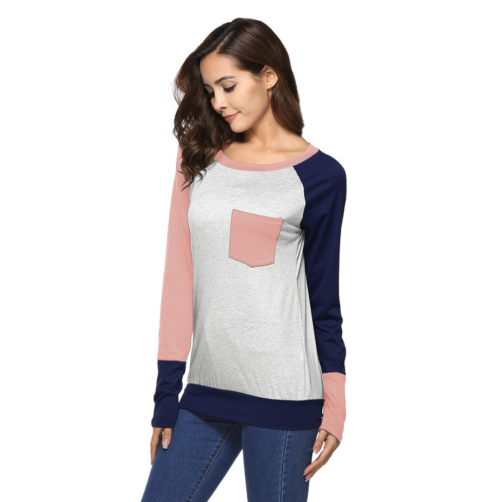 New hot European and American fashion personality pocket stitching casual round neck women 39 s long sleeved slim T shirt in T Shirts from Women 39 s Clothing