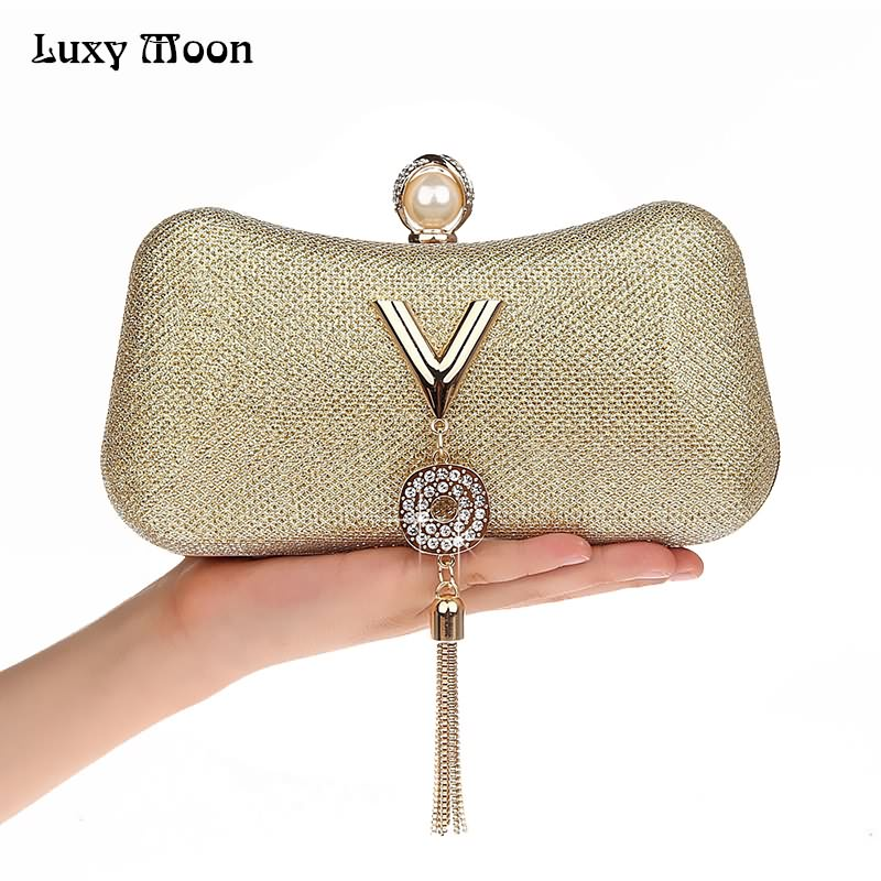 LUXY MOON Women Evening Bags Fashion Tassel Lady Diamond Clutch Chain Shoulder Bag Small Purse Messenger Bag Handbags ZD739 luxy moon real genuine leather backpack for women sheepskin small mini mutifuction shoulder bag fashion women s bags zd724