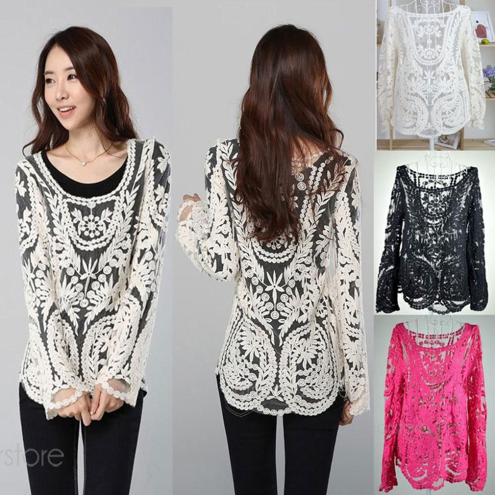 44c801de2 Fashion Crochet Lace Tops Women Blouses Hollow Out Lady Lace Shirt Lace  Blouse BE1400