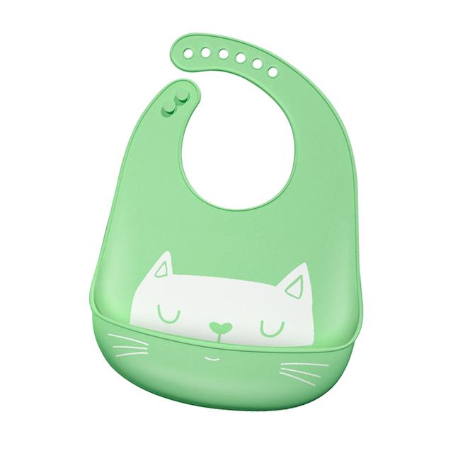 Adjustable Cartoon Silicone Baby Bib with Pocket