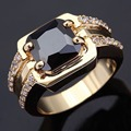 Wholesale Classic Retro men's rings super black zirconia gold jewelry 18 K gold plated rings for men luxury Big male Ring R005
