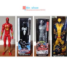 30cm Super Heros The Avengers Iron Man Spider Man Captain American Wolverine PVC Toys Action Figure Model With Box P20