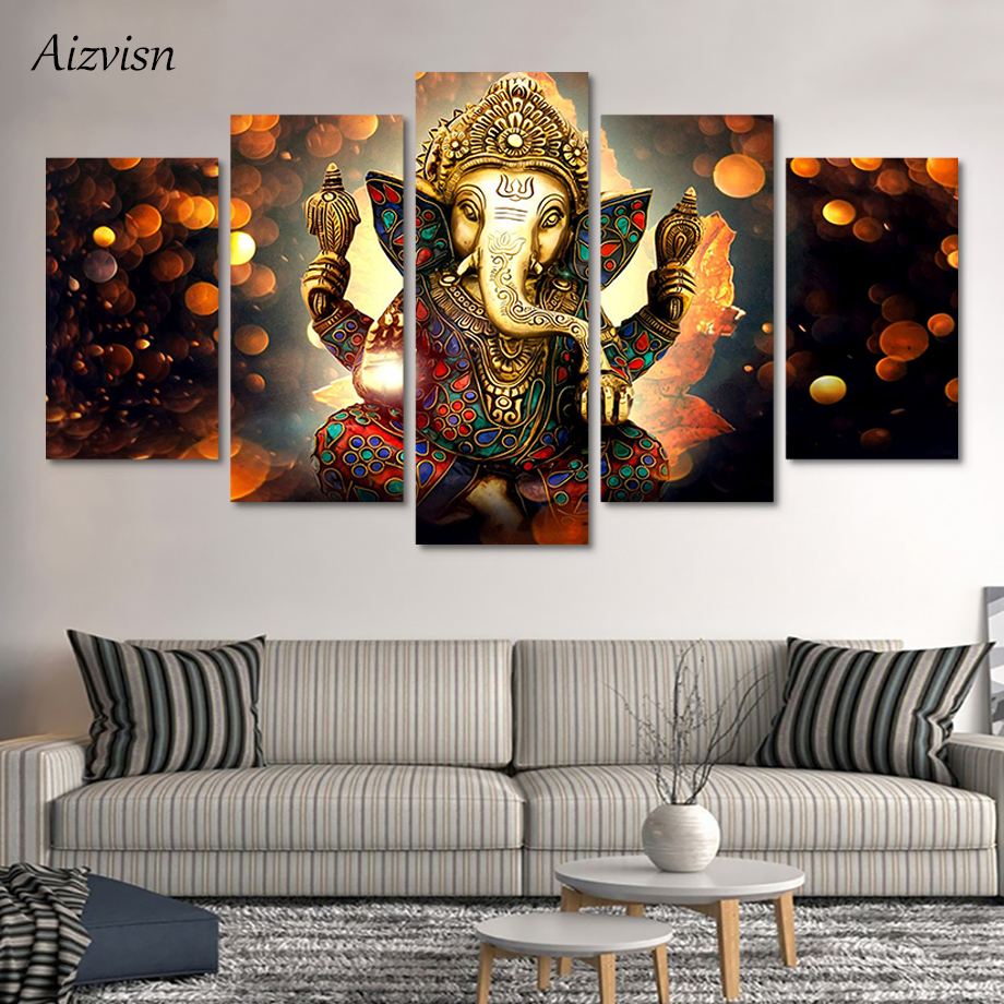 Aizvisn 5 Piece Modular Wall Paintings Elephant Trunk God Canvas Paintings Print Poster Ganesha Decor Room Art Modern Paintings in Painting Calligraphy from Home Garden