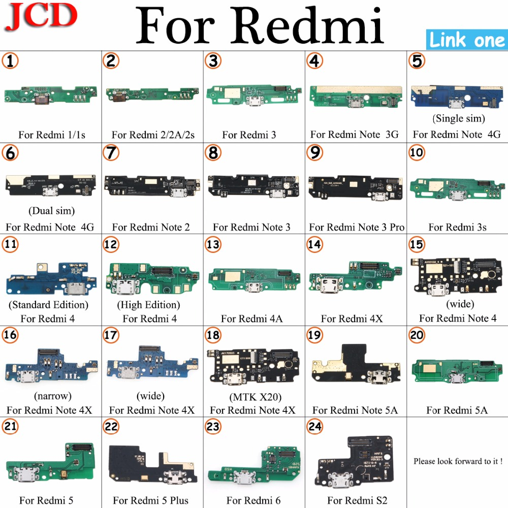 JCD For Redmi 4A 4X USB Power Charging Connector Plug Port Dock Flex Cable For Xiaomi For Redmi 1 2 3 3s 4 Note 4G Note 3/ 3 Pro