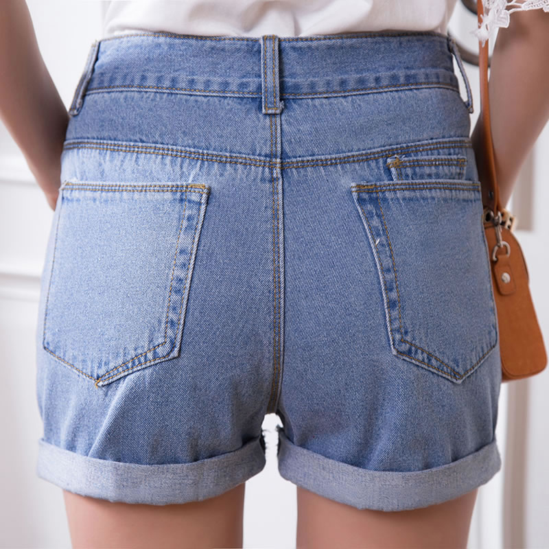 Free shipping~Korean loose Casual slim high waist shorts denim ...