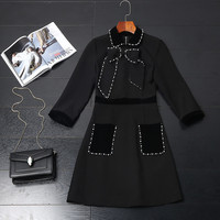2017 New Fashion Women Autumn Winter Runway Dresses Elegant Peter Pan Collar Beading Bowknot Casual Black