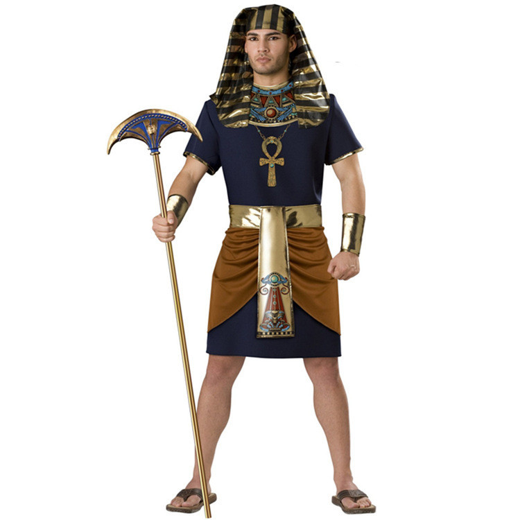 Man Ancient Egypt Pharaoh Costume Anubis Soldier Robe Halloween Fantasia Cosplay Fancy Dress