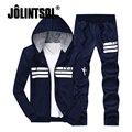 Jolintsai Fleece Hoody Hoodies Tracksuit Men Hot Sportwear Suit Men 2017 Plus Size Sweatershirt Sweat Suit 2PCS Warm Hoodie Set