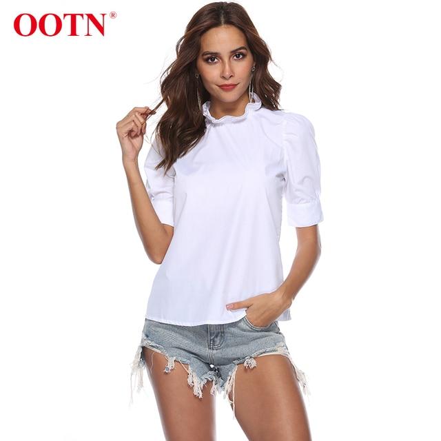 48f4b748ee0252 OOTN White Tunic Blouses Women Ruffled Shirts Female 2018 Summer Spring  Short Sleeve Frill Neck Tops Office Blouse Chemise Femme