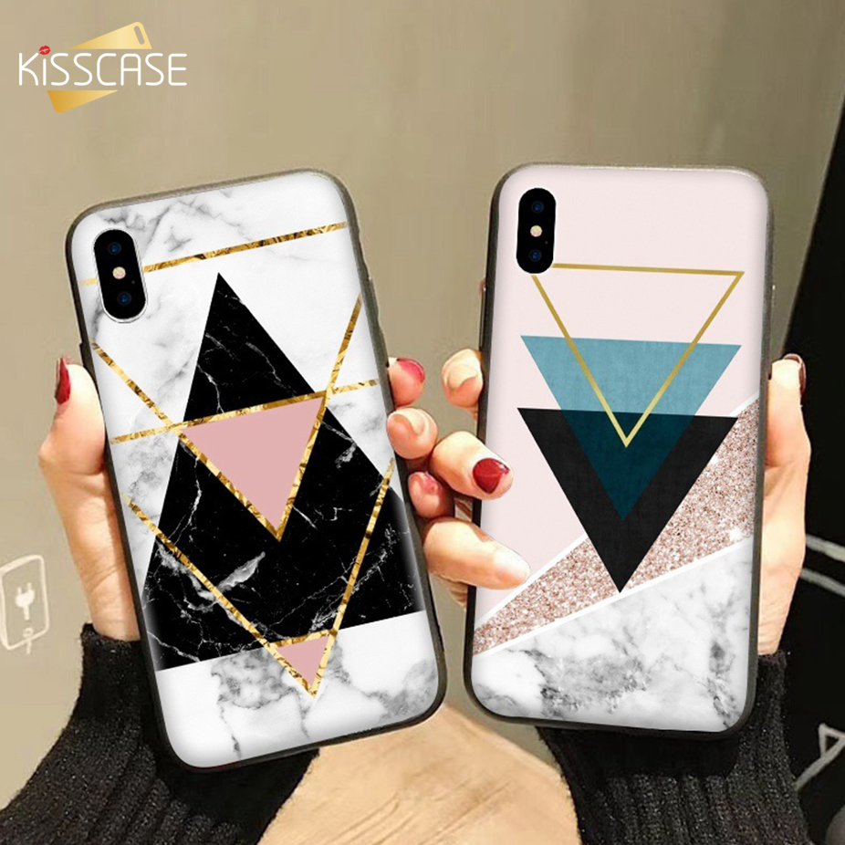 KISSCASE Fashion Marble Case For iPhone 7 8 Plus 5 5s SE Geometric Pattern Soft TPU Phone Case For iPhone 6 6s X 7 8 Fundas Capa