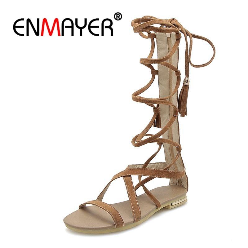 ENMAYER 208 Mode Nouvelle styleSexy Femme D'été romain Plat avec Bohème croix ceinture sandales Zip fixation Taille 34-46 ZYL033