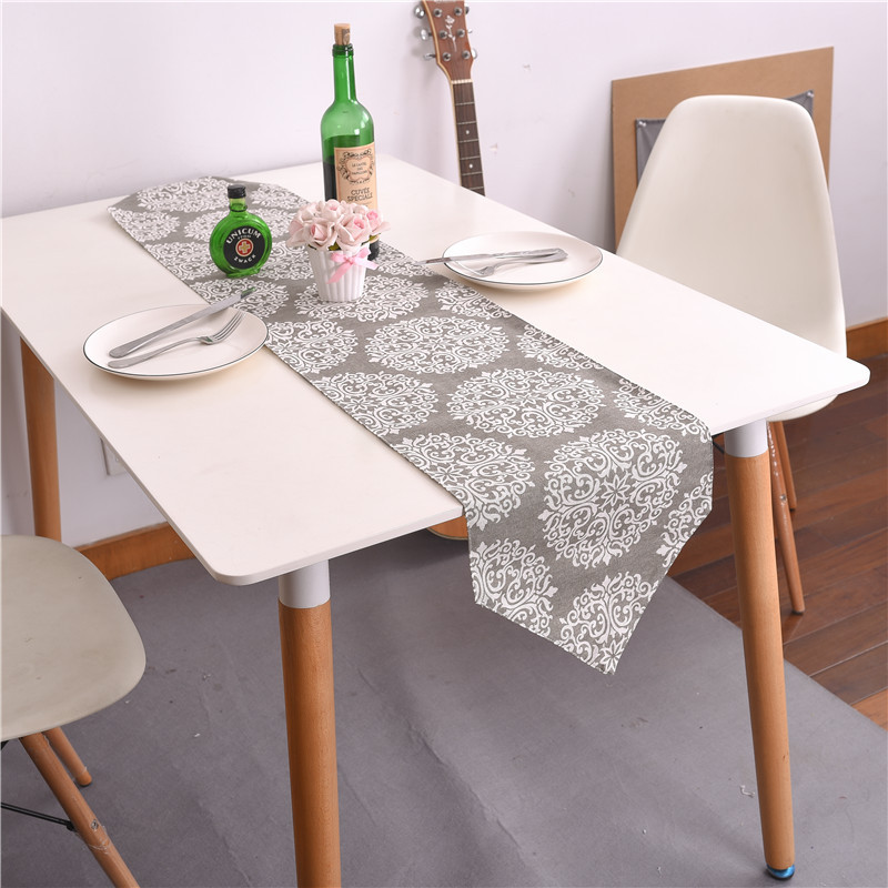 Gray Floral Table Runners Cabinet Cover Tablecloths Runners Dining Table Decoration Accessories