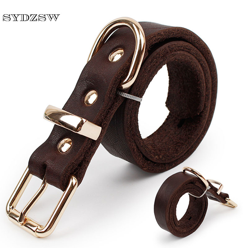 SYDZSW Top Grade Leather Dog Collar Pet Leads Alloy Spänne Labrador German Shepherd Dog Collar Stora Dog Products Brown