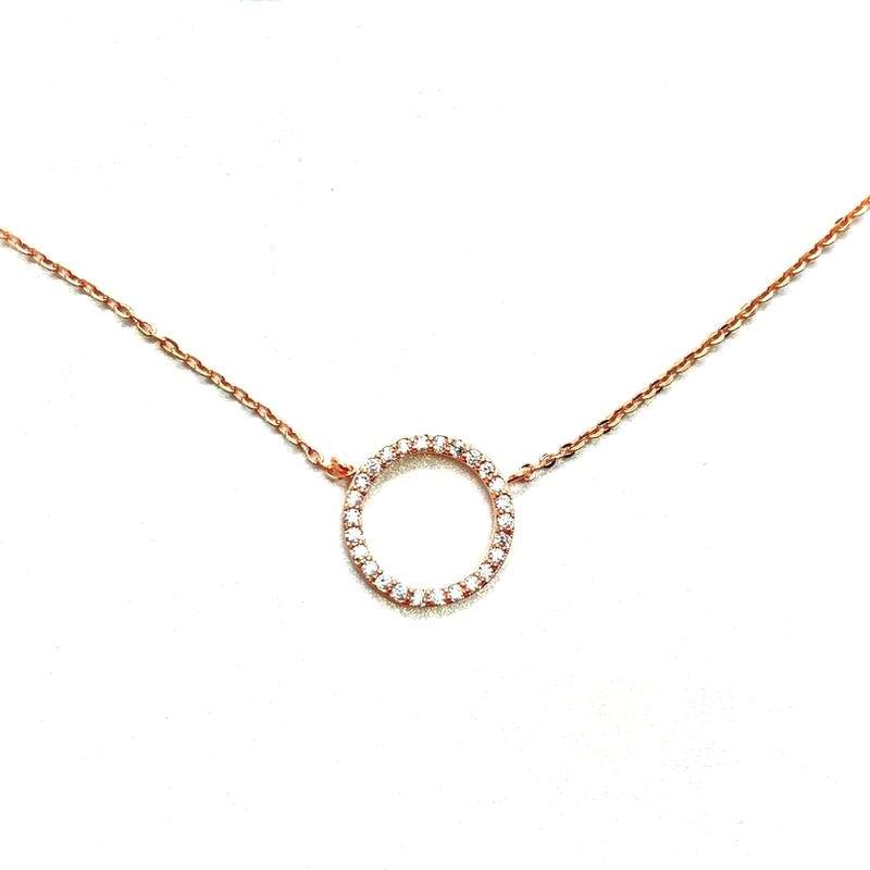 Simple Rose Gold Color Necklace Women Bijoux Round Circle Necklaces & Pendants Short Design Fashion Jewelry Wholesale