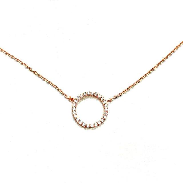 Simple rose gold color necklace women bijoux round circle necklaces