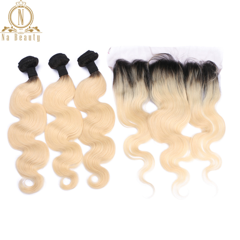 Brazilian Human Hair Extensions 1B 613 Blonde Color Body Wave 3 Bundles With 13*4 Closure Lace Frontal Non Remy Hair Pre Plucked