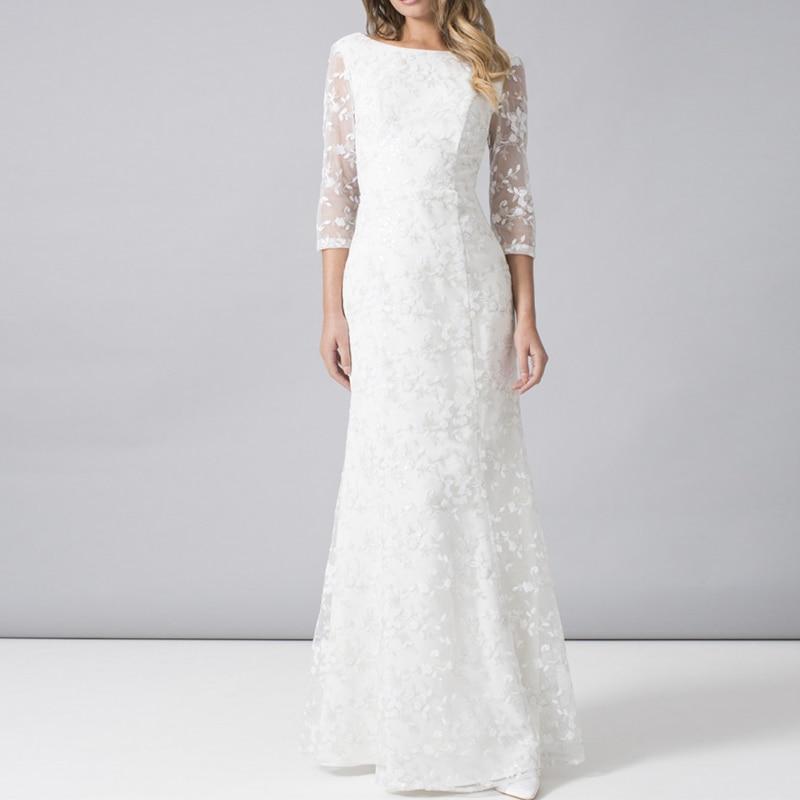 Vintage Three Quarter Length Wedding Dresses: Dreamy Bridal 2019 Vintage A Line Boat Neck Wedding Dress