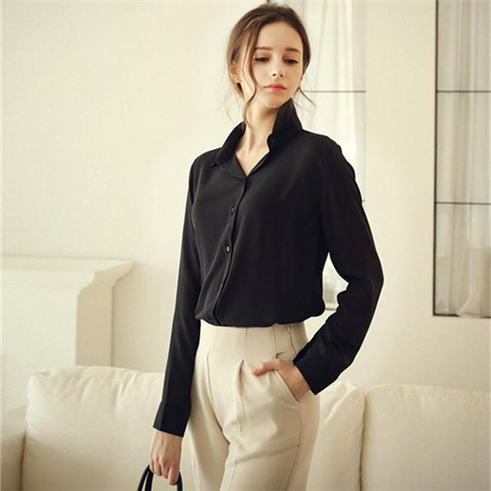 7a5451a32760b Elegant Women 5Colors Plus Size Fitted Chiffon Blouse Ladies Formal Office  Shirts Blusas Feminina Tops Work Wear Upper Clothing-in Blouses   Shirts  from ...