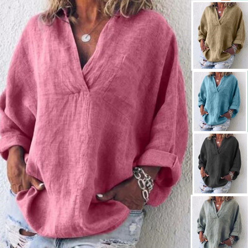 Women V-Neck Linen   Blouse   Casual Plus Size Clothing Solid Pure Color Long Sleeve   Blouse     Shirt