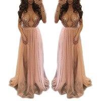 BALIWEISA 공주 맥시 드레스 여성 섹시한 스파게티 스트랩 V 넥 등이없는 드레스