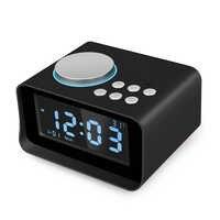 Desktop Wireless Bluetooth Speakers Alarm Clock FM Radio USB Charging Port U Disk TF Card MP3 Player Thermometer with Mic