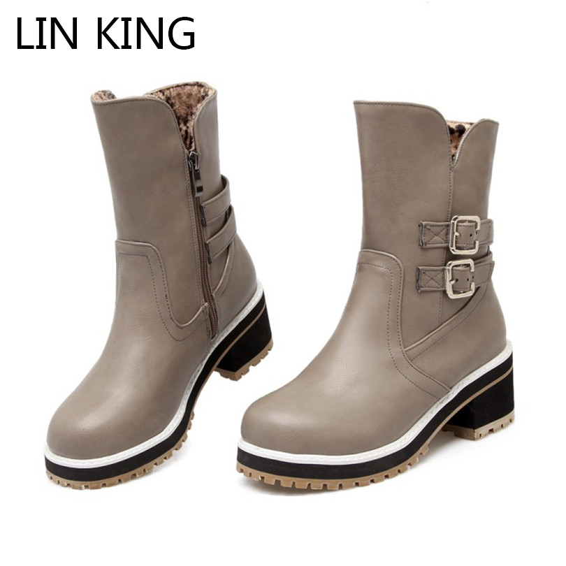 LIN KING Fashion Winter Snow Boots Low Square Heel Women's Martin Boots Zip Patent Leather Buckle Strap Western Boots Plus Size bsi women s 651 bowling shoes