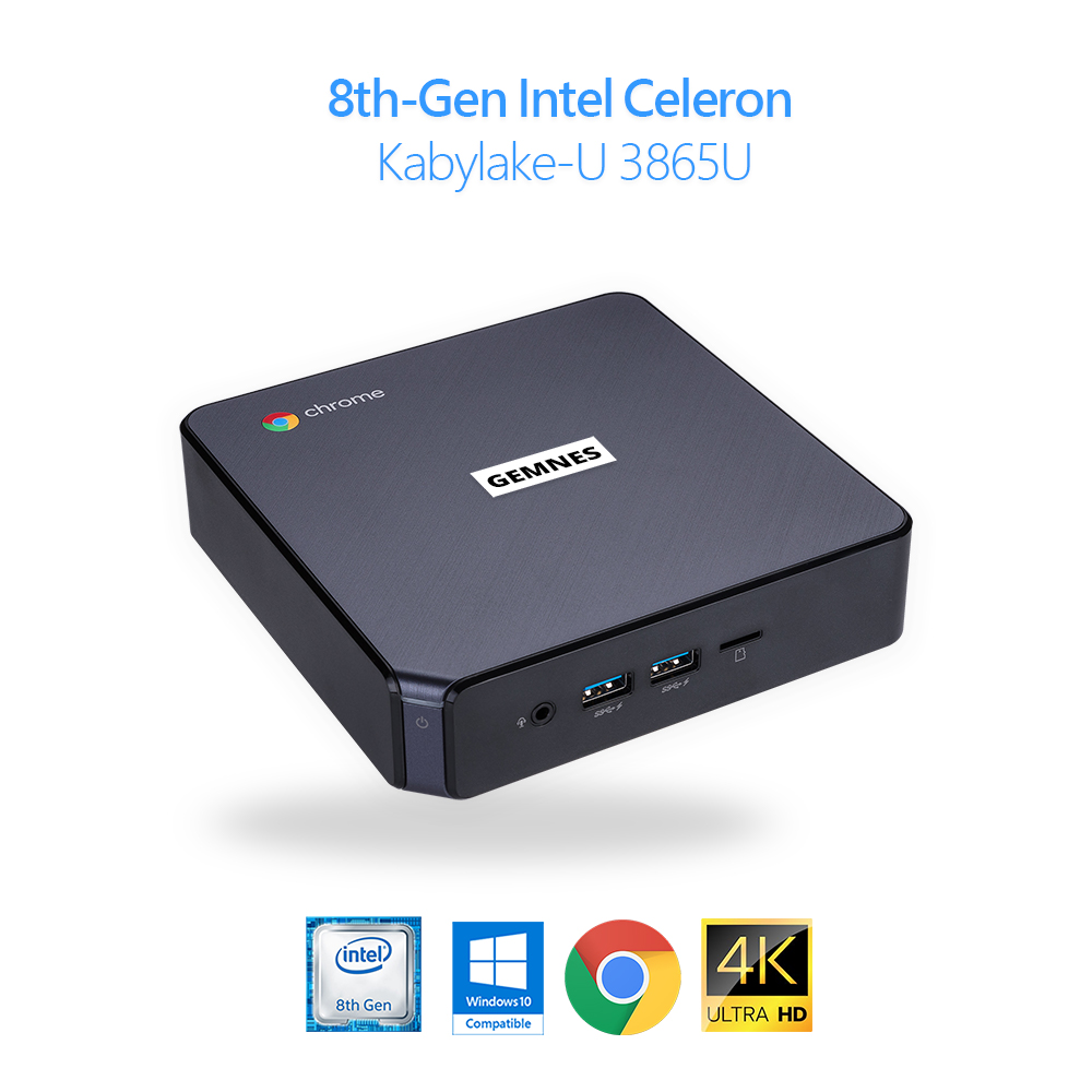 Original novo Chromebox Mini-pc Windows 10 Compatível 8th-Gen Intel Processador KBL-U 3865U Dual 4k USB Tipo-C PD 4G-DDR4 32G-mSATA