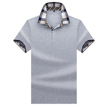 Wysokiej jakości topy i koszulki męskie koszulki Polo biznes mężczyźni marki koszulki Polo 3D haft skręcić w dół kołnierz mężczyzna polo koszula 9007 tanie i dobre opinie Krótki COTTON Na co dzień Stałe Szeroki zwężone Oddychające Przycisk JUNGLE ZONE