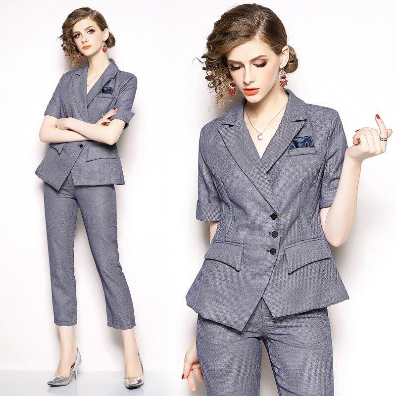 European New Fashion Autumn Office Suit for Women High Quality OL Female Pants Set Chic Plaid