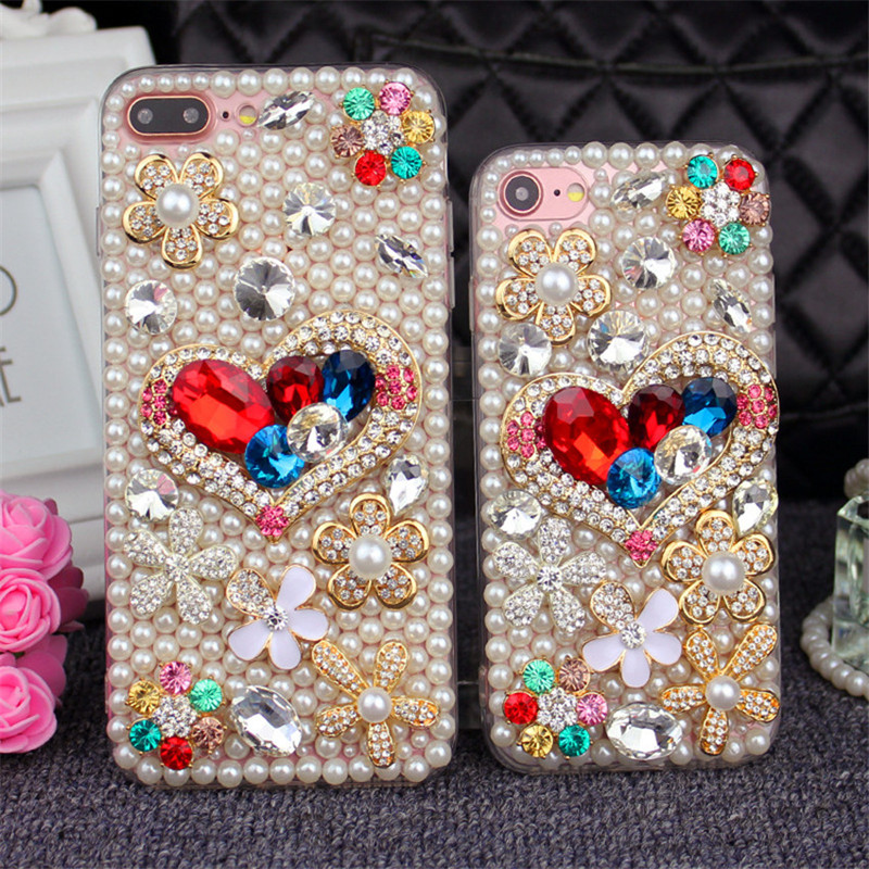Bling-Flower-Pearl-Rhinestone-Phone-Case-For-iPhone-X-7-8-Plus-Crystal-Diamond-Soft-Back