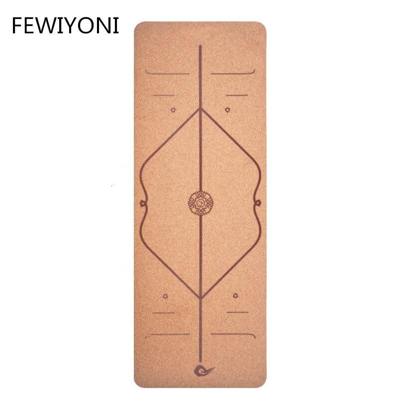 FEWIYONI 6 MM 183*68 CM tapis de Yoga en caoutchouc naturel liège tapis de Fitness pour femmes tapis de gymnastique Pilates pour hommes tapis de sport