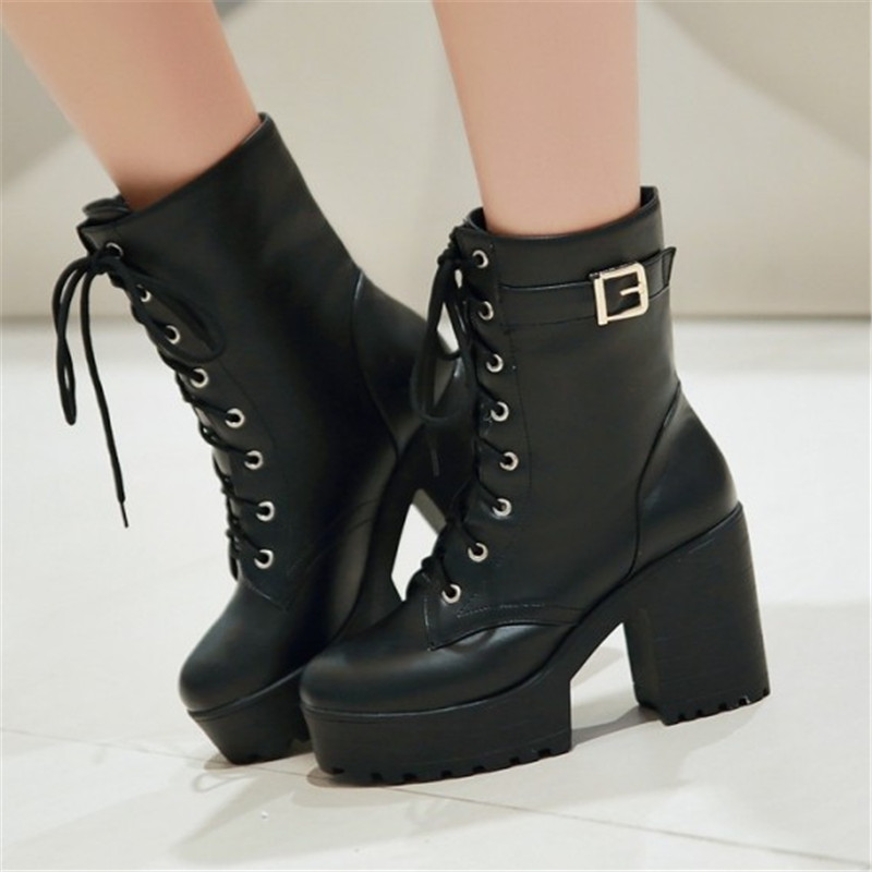 Autumn and winter women's shoes fashion thick heel boots high lacing martin boots female short boots 40 41 43 plus size