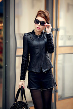 Plus Size 5XL Female PU Leather Jacket Half-open Collar Long-sleeved Washed Leather Spring Jacket Women TZ-21