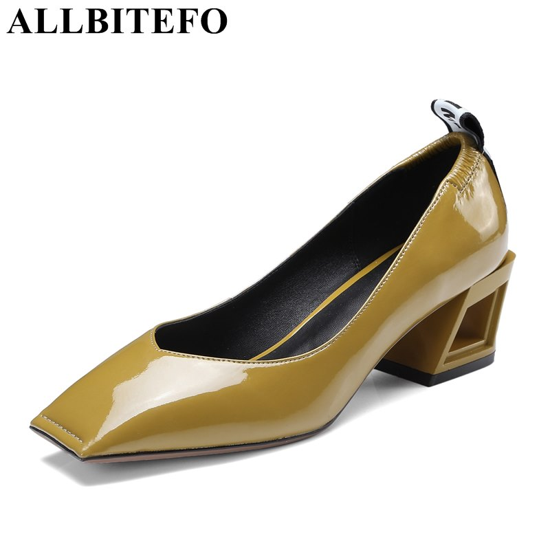 ALLBITEFO thick heel Patent leather square toe women pumps spring medium heel high quality high heels fashion high heels shoes torklift a7502 two step glow step