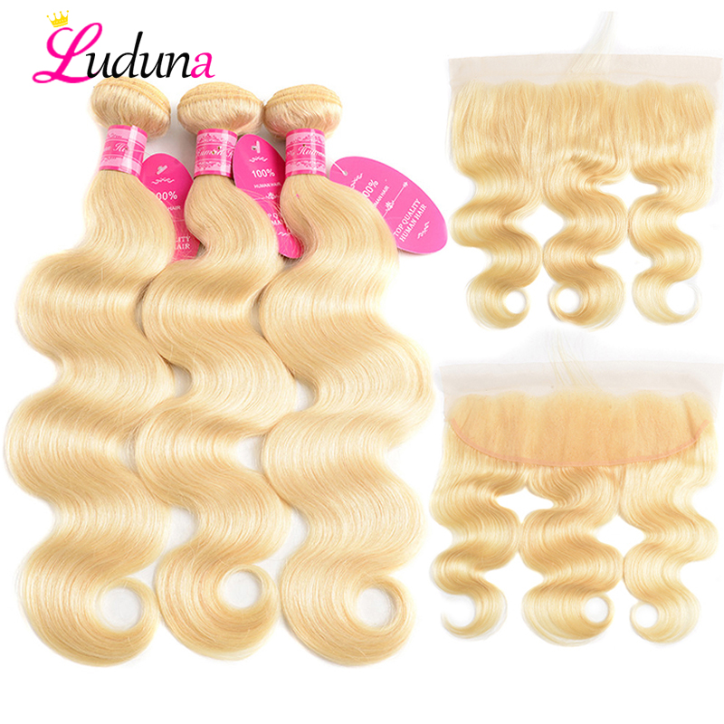 Luduna 613 Bundles With Frontal Brazilian Body Wave With Frontal Remy Blonde Human Hair Lace Frontal
