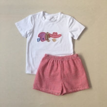 Puresun Football Season Latest Cotton Baby Girls Boutique Clothing Set Fashion Embrodery Tops Red Gingham Shorts Kids Outfits kids contrast panel panda print tee with gingham shorts