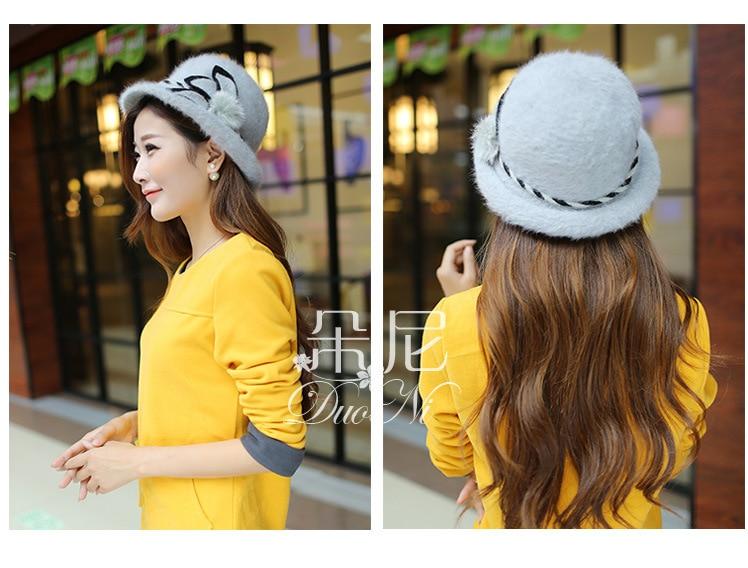 3b6300195613d 2014 nueva moda Otoño lana caliente bowknot beanet señoras chapeu feminino  gorras mujer bolsillo de touca gorras negros Sombreros de fieltro sombreros