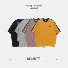 SODA WATER 2019 New Arrival Brand Tee Oversized Colour Block T-shirt O-neck Cotton Summer Mens Clothes Streetwear T-shirt 9162S