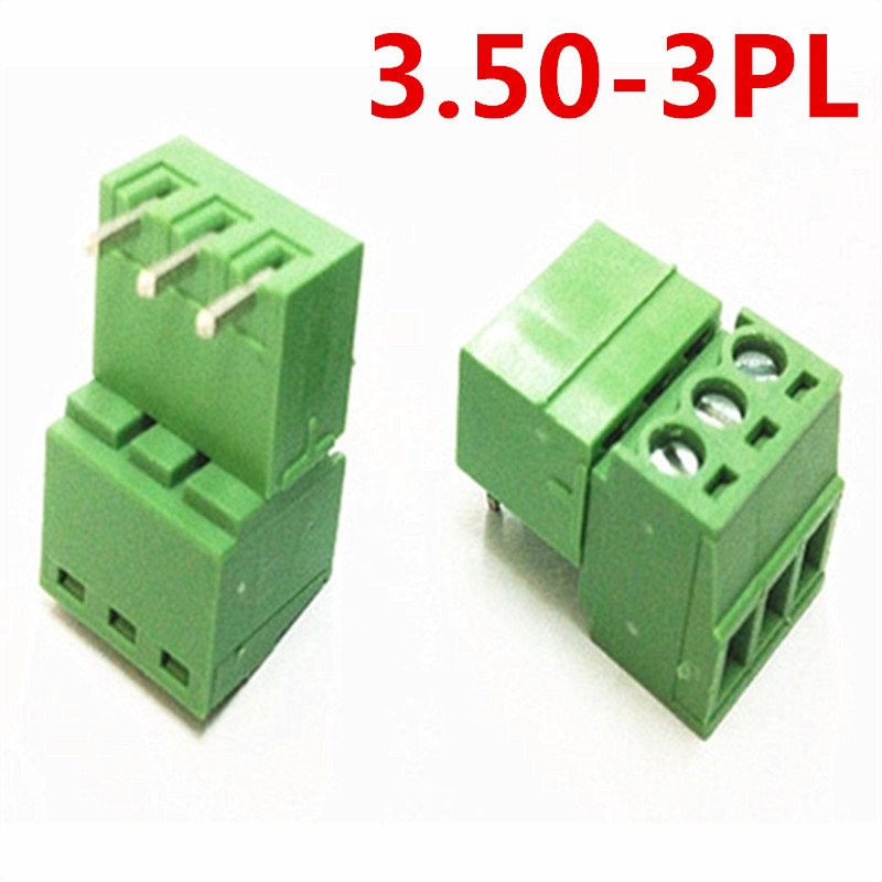 10sets 3 Pin Electrical 15EDG-3.5mm Pitch Pluggable Right Angle Bend Screw Green Terminal Block Connector pin header and socket