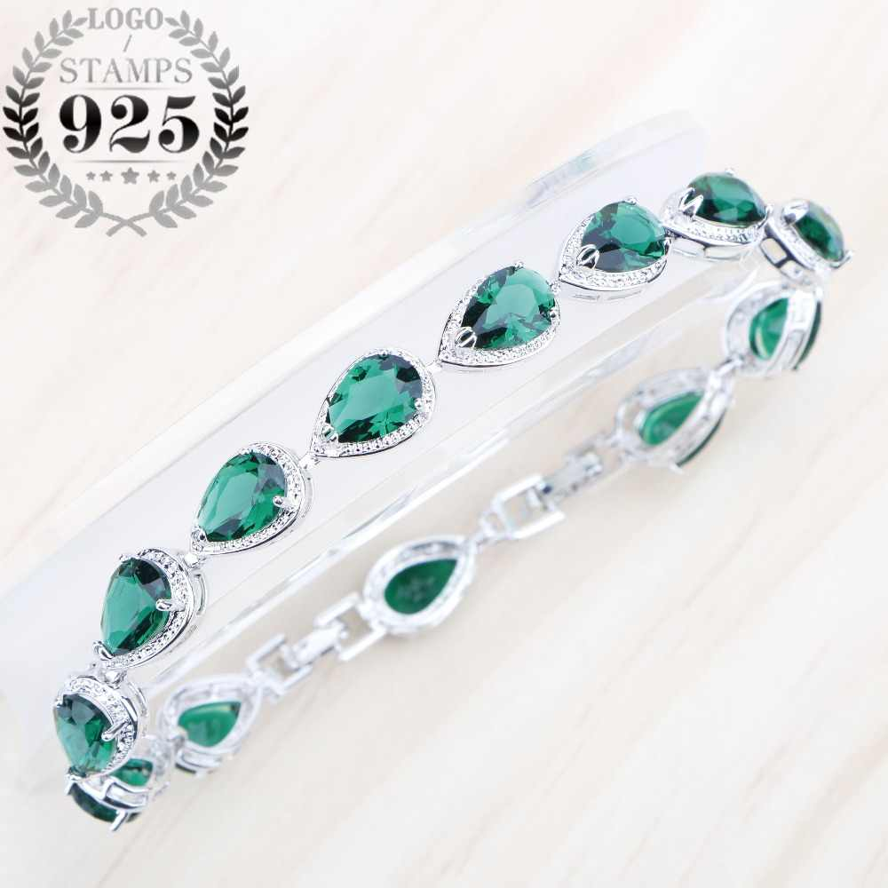 Stranger Things Green Cubic Zirconia Silver 925 Jewelry Charms Bracelets For Women Natural Stones Jewelery Gift Box