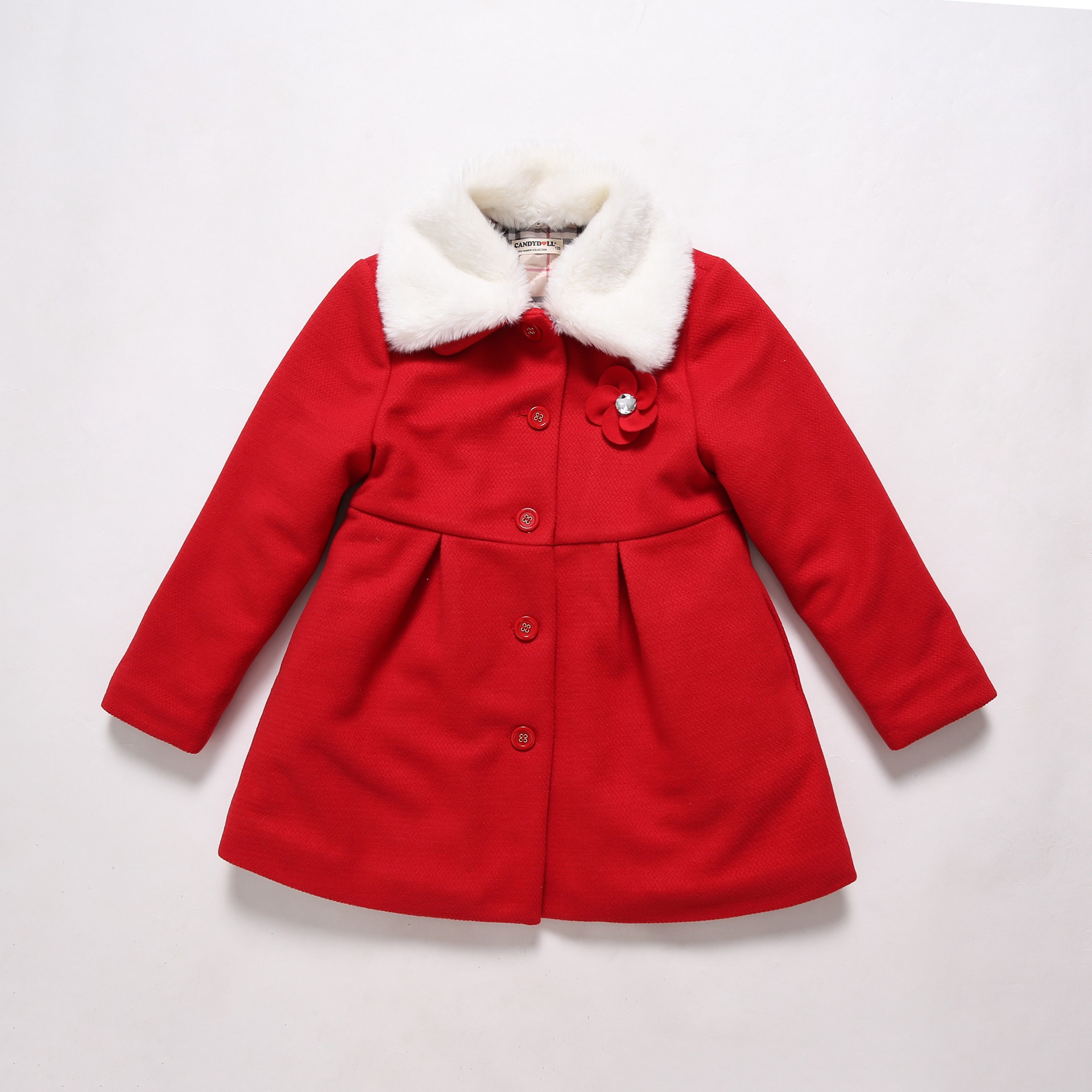Fashion Winter Girls Coat Solid Color Red Fur Collar 2 3 4 6 8 10 ...