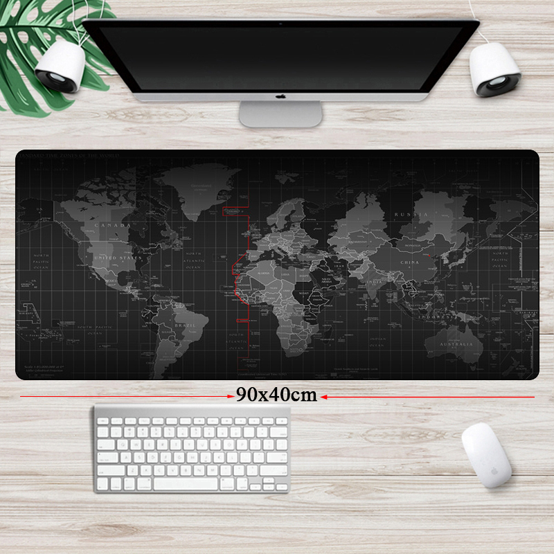 World Map Large XL Mouse Pad Locking Edge Computer Gaming Big MousPad Non-Skid Speed Gamer Rubber Notebook Keyboard Desk Mat