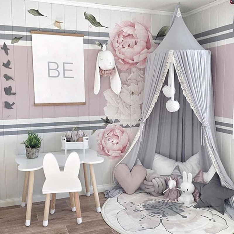 Round Pink White Gray Bed Canopy for Girl Baby Crib Bed Curtain with Lace Kids Play